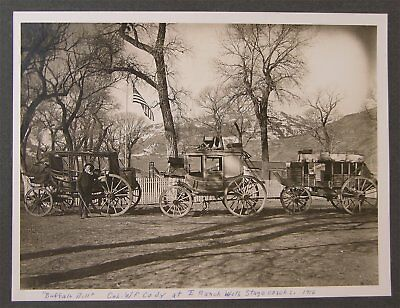 1916 William F Buffalo Bill Cody Cabinet Card Photo With Deadwood Stagecoaches