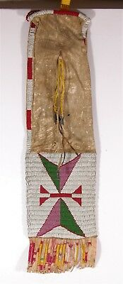 1890s NATIVE AMERICAN SIOUX INDIAN BEAD AND QUILL DECORATED HIDE TOBACCO BAG