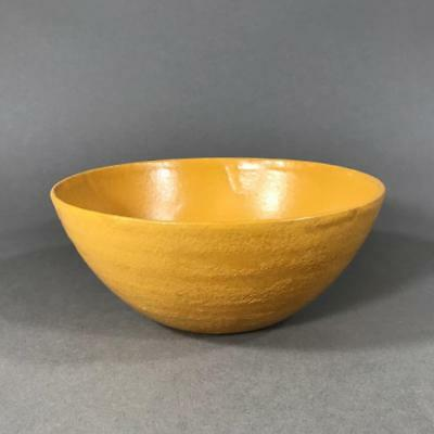 Signed PAUL REVERE (SEG) Pottery Bowl with Yellow Glaze, Arts & Crafts c. 1920's
