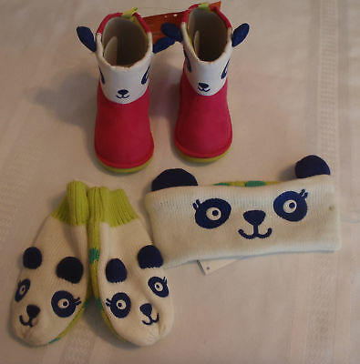 Gymboree Color Happy Panda Size 4 or 5 Boots Toddler Mittens Earband Set NWT