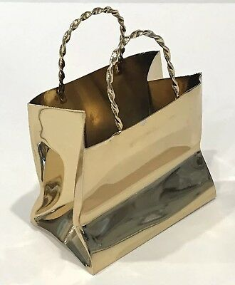 Rare Vintage Cartier Hand Made Sterling Silver  Gold Plated Shopping Bag