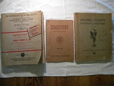 Lot 3 Vintage Telephone Directory Book 1935 '46 '52 Whittier Orange Co CA Kansas