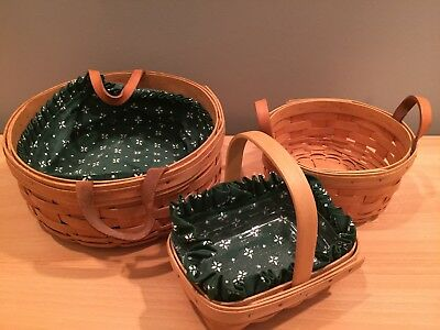 Lot of 3 Collectible Longaberger Baskets Signed and Numbered