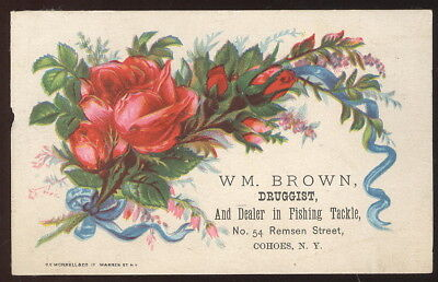 Small Trade Card Advertising Wm. Brown, Druggist, Cohoes, N.y. Fishing Tackle