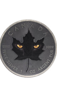 2015 1Oz Ounce Canadian Silver Maple Black Cat Antique Colorized Coin 9999