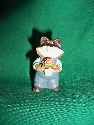 Hallmark Merry Miniatures  Summer Raccoon &  Flower 1995