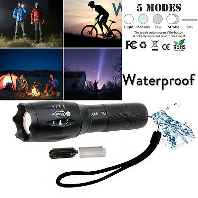 T6 Tactical Military LED Flashlight Torch 50000LM Zoomable 5-Mode Lamp For 18650