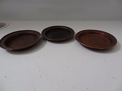 ANTIQUE TIBETAN BUDDHIST COPPER VARIOUS  OFFERING PLATES set of 3