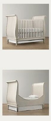 Restoration Hardware Emelia Sleigh Crib And Toddler Bed Conversion Kit White