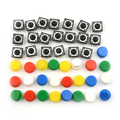 20Sets Momentary Tactile Push Button-Touch Micro Switch 4P PCB Caps 12x12x7.3mm