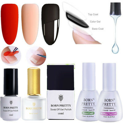 BORN PRETTY UV Gel Nail Polish Base Coat Top Coat Matte Tempered Peel Off Tools