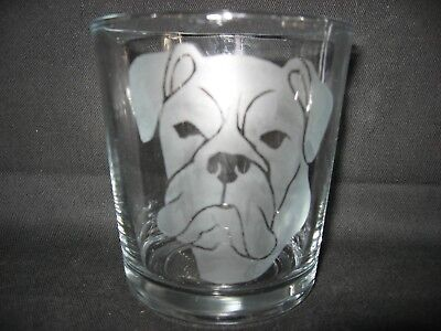 New Etched Boxer Ears Down Old-Fashioned Rocks Glass Tumbler