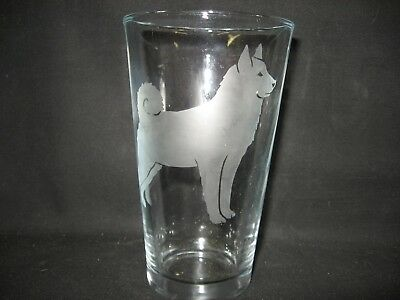New Etched Norwegian Elkhound Pint Glass Tumbler