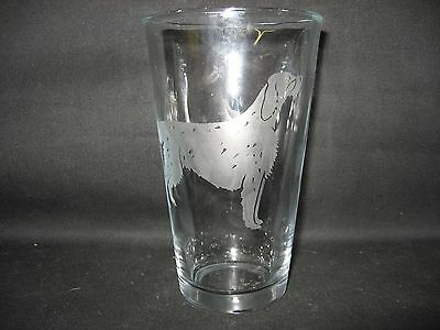 New Etched English Setter Pint Glass Tumbler