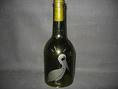 New Etched Pelican Glass Wine Bottle Wind Chimes