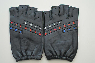 Kid's Millington Fingerless Faux Leather Cycling Gloves Black Size 7.5