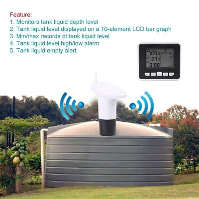 Ultrasonic Water Tank Liquid Level Sensor Meter Receiver with High/Low Alarm GT