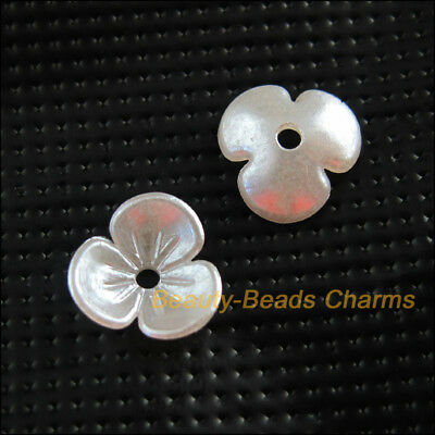 80Pcs White Plastic Acrylic Flower Heart Spacer End Bead Caps Charms 9.5mm