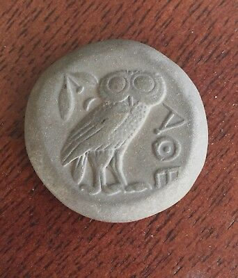 Ancient Greek Roma BC Owl Coin Goddess Athena of Athens & Ariel the Owl Coin AE9