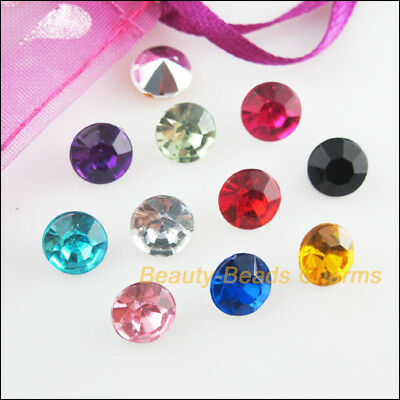 80Pcs Mixed Acrylic Plastic Round Point Back Jewelry Accessory 8mm