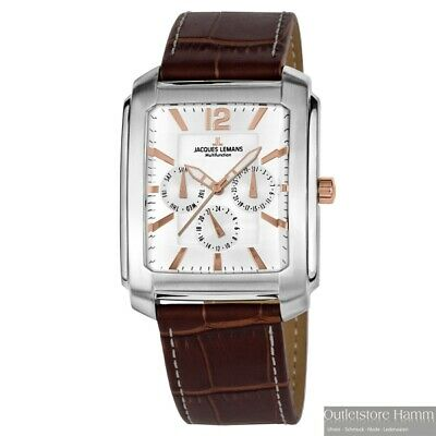 JACQUES LEMANS Uhr Madrid 1-1463W Multifunktion eckige Armbanduhr Lederband