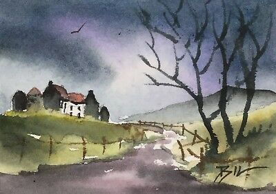 ACEO Original Art Watercolour Painting by Bill Lupton - Village on the Hill