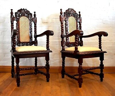 Antique style pair of carved spiral barley twist carver armchairs - thrones