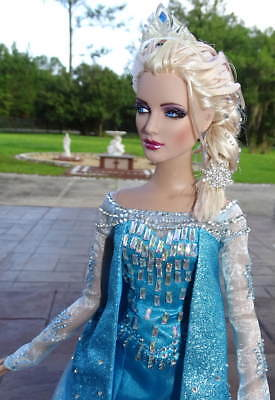 "TONNER DISNEY Frozen QUEEN ELSA 16"" DOLL OOAK The Snow Queen NEW Custom Poseable"