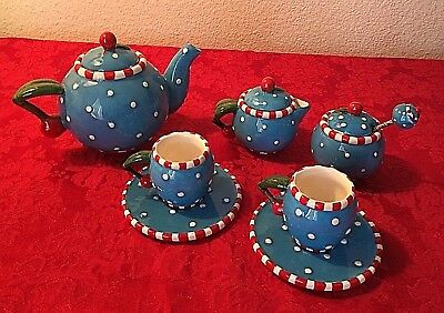 Mary Engelbreit Tea Set Cherry red, blue, white polka dots miniature childs play
