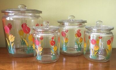 Antique Painted Tulips Flower Small Kitchen Bath Vanity Glass Canister Jar Set 4