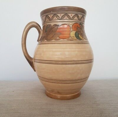 Signed Charlotte Rhead Art Deco Fruit Border Large Jug Crown Ducal