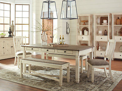 PALERMO 5 pieces Cottage White & Brown Dining Room Set Rect Table Chairs Bench