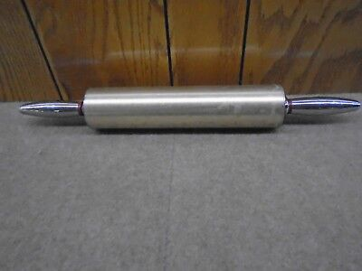 "Vintage ALUMINUM ROLLING PIN Copper & Chrome Baking Dough Roller 18"" Exc Cond"