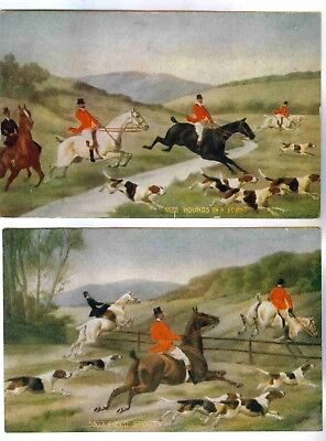 """hounds On A Scent""&""field Sports"" Equestrian Horse Hunting Scene,vntg Postcards"