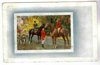 Horses And Hounds Ready For A Fox Hunt Scene Vintage Postcard Circa 1915-1925