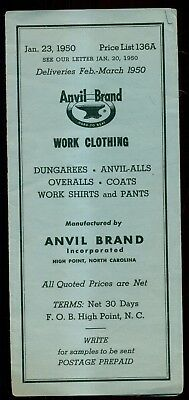 1950 Anvil Brand Work Clothing Price List - High Point,NC