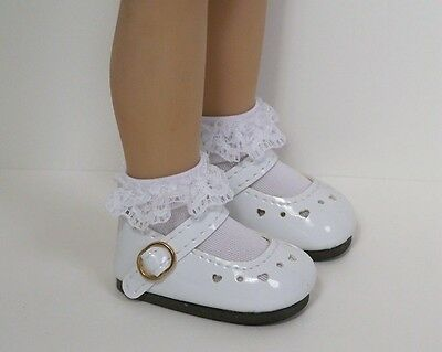 """WHITE Patent Heart CF Doll Shoes For Dianna Effner 13"""" Little Darling (Debs)"""
