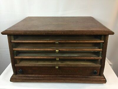 Rare Antique SPOOL CABINET CORTICELLI / LEONARD 4 GLASS DRAWERS - 1WOOD DRAWER