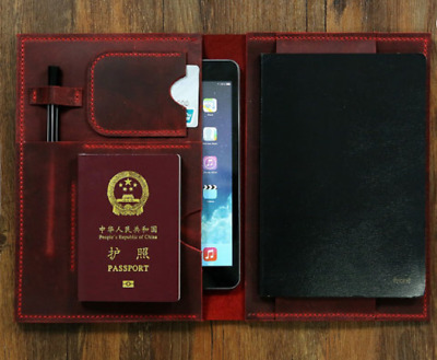 notebook book jacket cover slipcase pocket cow leather customize wine red H031
