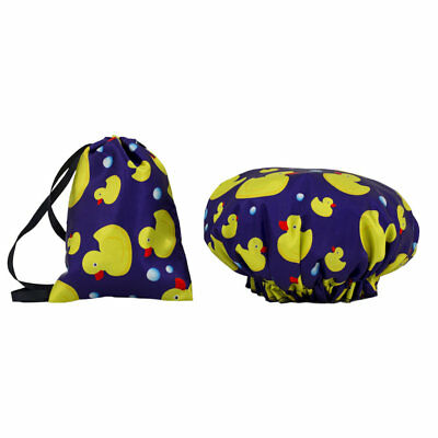 Dilly's Collections Waterproof Shower Caps w Matching Satin Bag Cute Duck Design