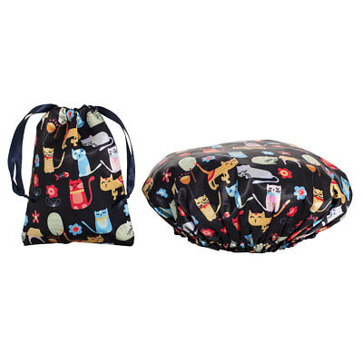 Dilly's Collections Shower Caps / Matching Satin Bag Reusable Travel Cat Design
