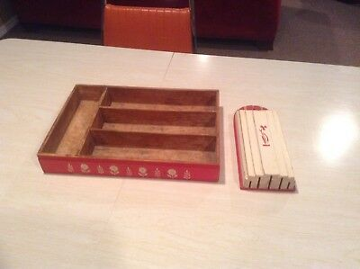 VTG  Wooden Utensil/Silverware Tray with Dovetail Corners & Nuway Knife Holder