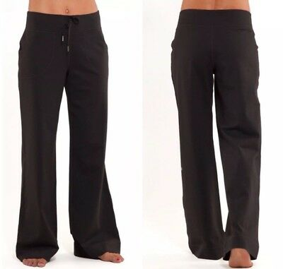 09877db453bf52 Lululemon Still Pants Wide Leg 10 Solid Black Relaxed Fit Yoga Will Fit Sz  12