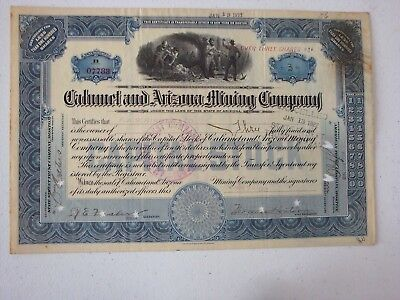 Mining Stock Certificate Arizona 1922  Calumet Arizona Mining Co Miner Vignette