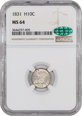 1831 H10c NGC/CAC MS64 - Early Half Dimes - Satiny Luster