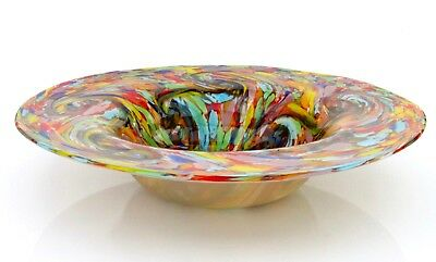 Extremely Large 49cm Murano Multi Colours Art Glass Studio Dish Stunning Colours