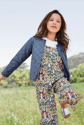 Next - Blue Cotton Denim Quilted Smart Casual Jacket - Girls 5 Years - New