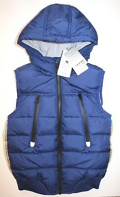 Next - Blue Padded Hooded Shower Resistant Gillet Jacket- Girls 8 Years - New