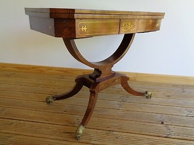 A Very Fine Antique Regency Brass Inlaid Rosewood Card Table