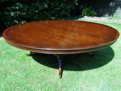 HUGE RARE 8ft ROUND MAHOGANY DINING TABLE ANTIQUE STYLE BOARDROOM
